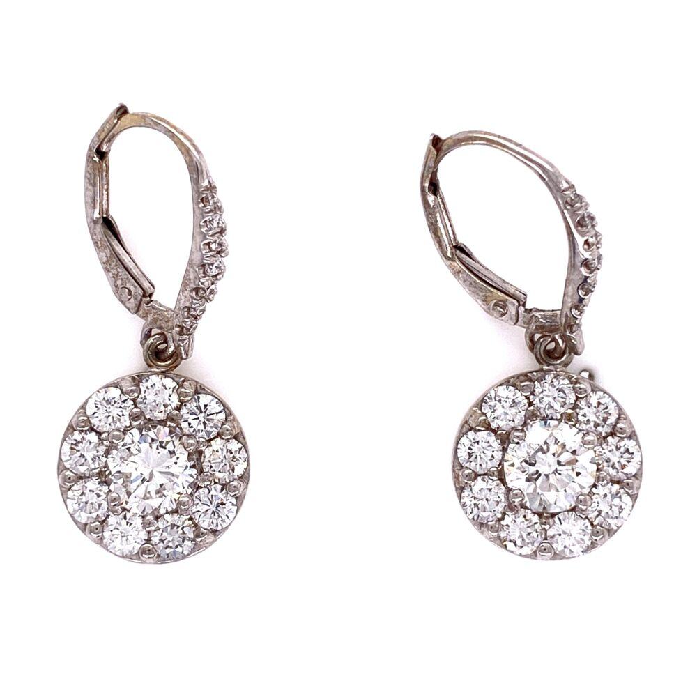"Image 2 for 18K WG 2.09tcw Cluster Diamond Earrings, 1"" tall"
