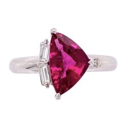 Closeup photo of Platinum 1.68ct Sheild Rubellite Tourmalime & .18tcw Diamond Ring, s6.5