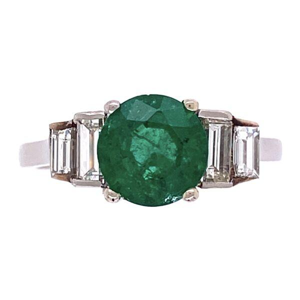 Closeup photo of Platinum 1.00ct Round Emerald & .35tcw Diamond Ring, crica 1950's, s5.25