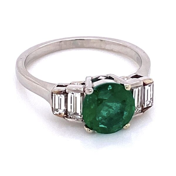 Closeup photo of Platinum 1.00ct Round Emerald & .35tcw Diamond Ring, crica 1950's, s5.25