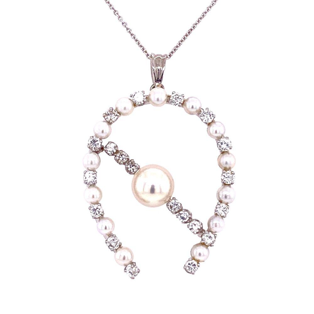 "14K WG Retro Pearl & 1.20tcw Diamond Horse Shoe Pendant 16"" Chain 1.5"" tall"