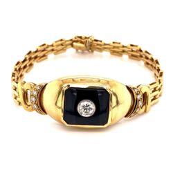"""Closeup photo of 18K YG .65tcw Diamond & Onyx Bracelet 34.6g, 7"""""""