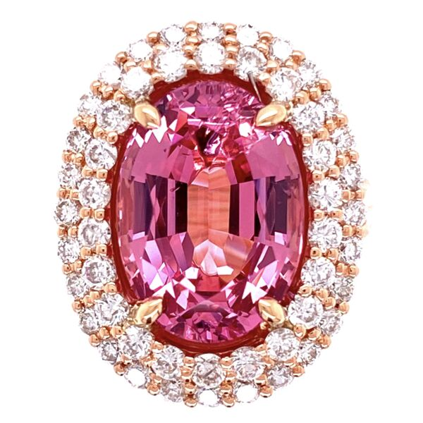 Closeup photo of 14K Rose Gold 7.47ct Oval Spinel & .85tcw Diamond Ring, s6.5