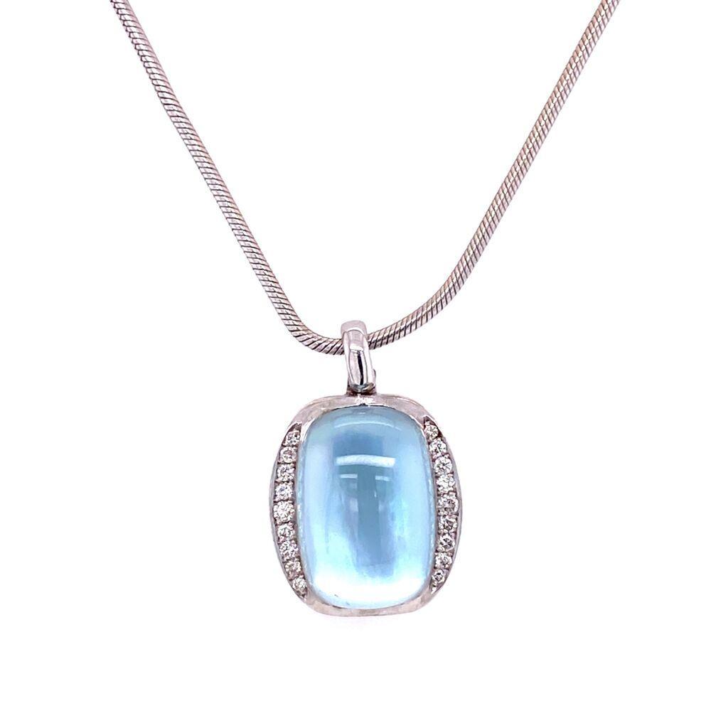 "18K WG Blue Stone & .18tcw Diamond Pendant 10.2g, 16"""