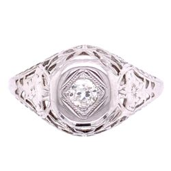Closeup photo of 18K WG Art Deco .12ct Diamond Filigree Ring, s5.5