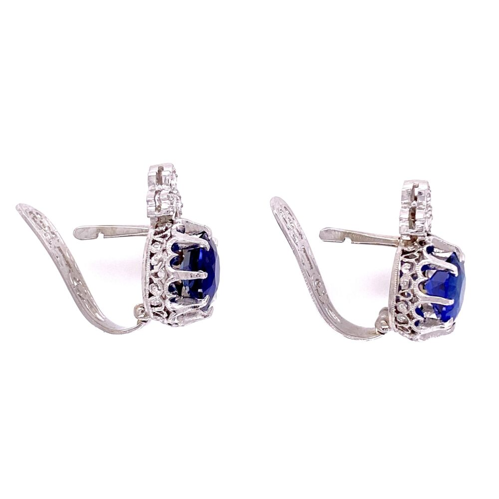 Platinum Art Deco 3.64tcw Sapphire Drop Earrings with .20tcw Diamonds