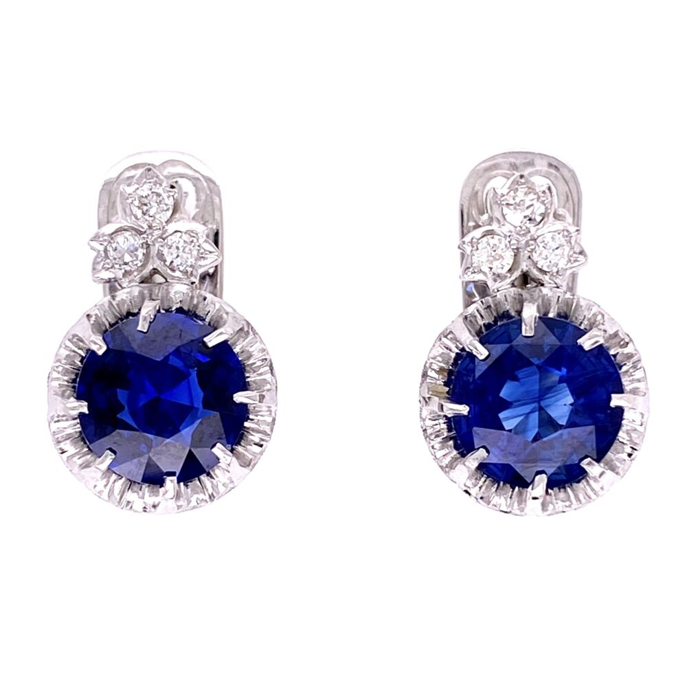 Image 2 for Platinum Art Deco 3.64tcw Sapphire Drop Earrings with .20tcw Diamonds