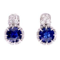 Closeup photo of Platinum Art Deco 3.64tcw Sapphire Drop Earrings with .20tcw Diamonds