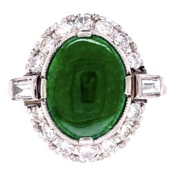 Closeup photo of Platinum Art Deco 3.00ct Oval Jade & .70tcw Diamonds Ring, s6