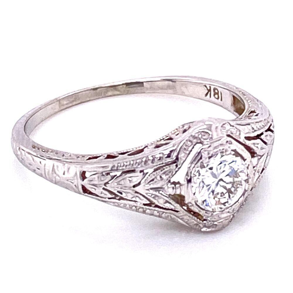 18K WG Art Deco .40ct OEC Diamond Ring, s7.5