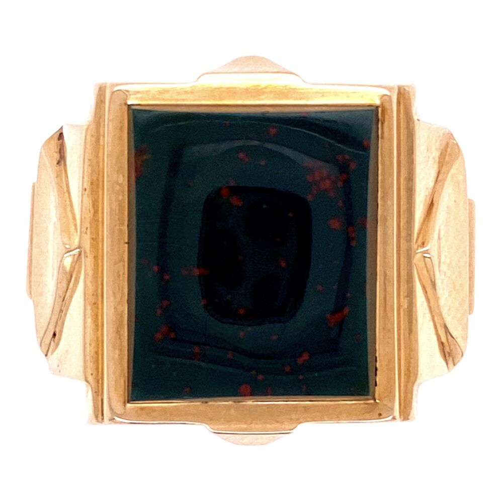 Image 2 for 10K Victorian Square Bloodstone Angular Ring 7.3g, s8.75