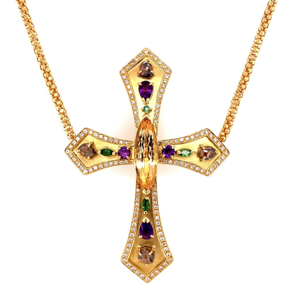 18K YG 5.08ct Topaz, .95tcw Diamond & Gemstone Cross 30.1g, 24""