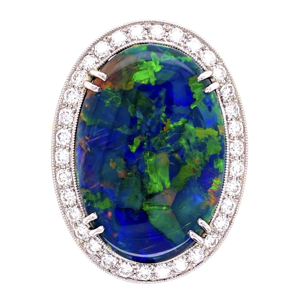 Platinum on 18K 10.68ct Black Opal & .82tcw Diamond Ring, s7