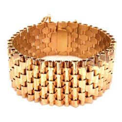 """Closeup photo of 18K Rose Gold Retro 7 Row Link Bracelet 79.5g, 1.2x7.5"""""""