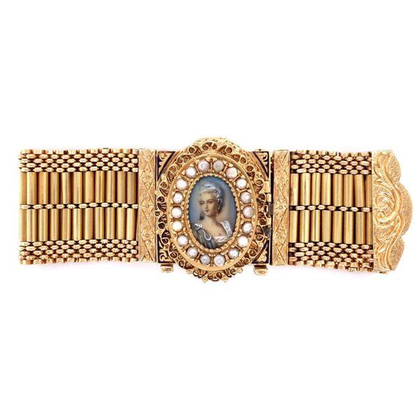 "Closeup photo of 14K YG Victorian Seed Pearl & Enamel Bracelet Interchangeable 90.3g, 7.25"""