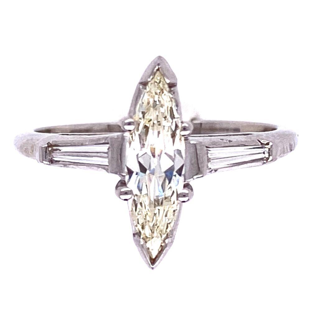 Platinum .55ct Marquis Diamond Ring with .15tcw Baguette Diamonds, s6.5