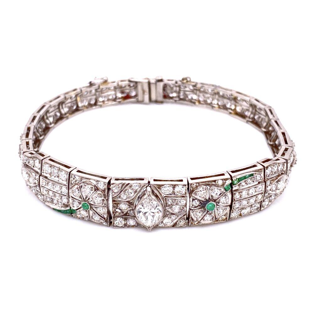 "Platinum Art Deco Diamond Bracelet, 5.75tcw & .10tcw Emeralds 22.8g, 7"""