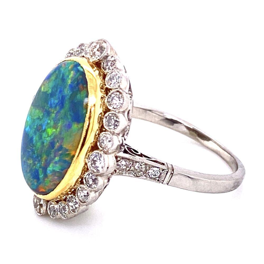 Platinum 18K YG 4.74ct Black Opal & .95tcw Diamond Ring, s6.75
