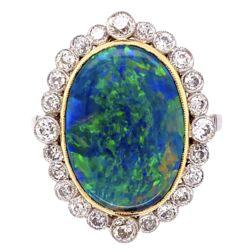 Closeup photo of Platinum 18K YG 4.74ct Black Opal & .95tcw Diamond Ring, s6.75