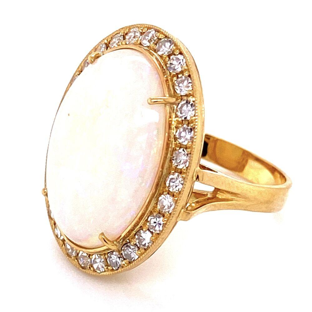 Image 2 for 18K YG 8.60ct Australian White Opal & .71tcw Diamond Ring, s6.5