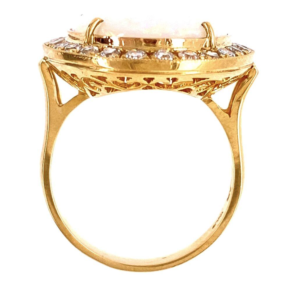 18K YG 8.60ct Australian White Opal & .71tcw Diamond Ring, s6.5