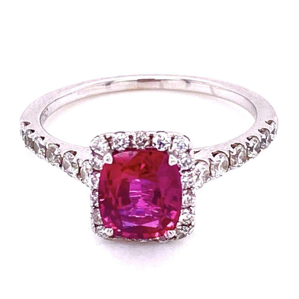 Image 2 for 18K WG 1.35 Cushion Ruby & .55tcw Diamond Ring, s7