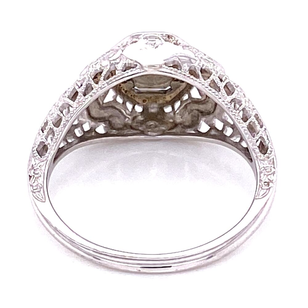 18K WG Art Deco .17ct OEC Diamond Filigree Ring, s5.5