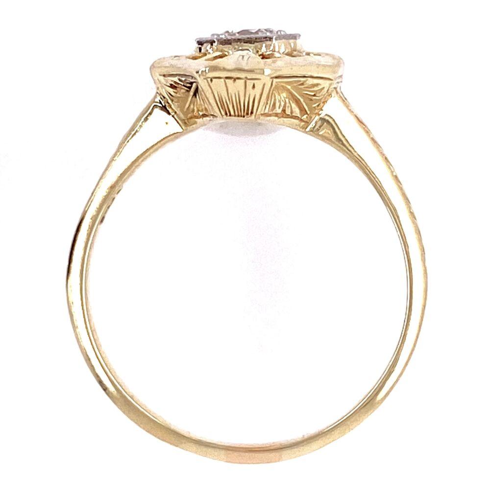 14K 2 tone Art Deco Ring with .25ct OEC Diamond, s6