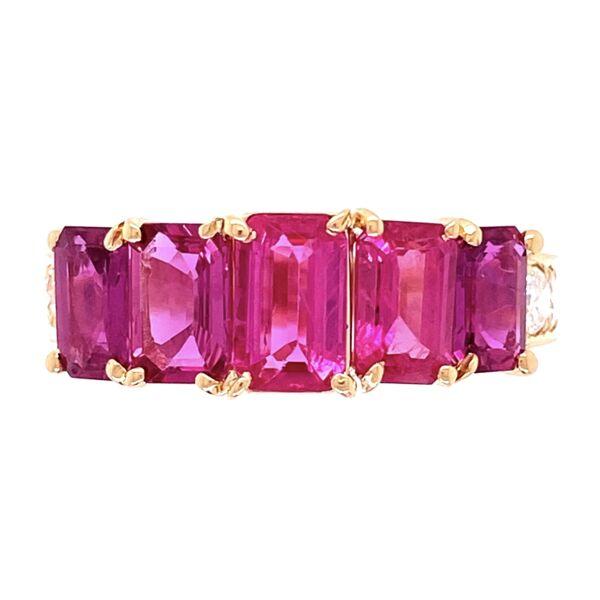 Closeup photo of 18K YG 5 Ruby are 2.87tcw & .82tcw Diamond Ring