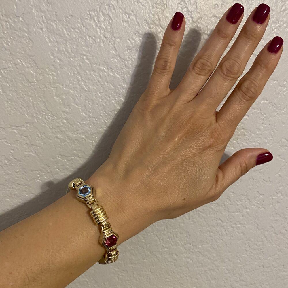 """18K YG Multi Gemstone Bracelet 67.2g, 7.5"""""""