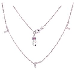 "Closeup photo of 18K WG ROBERTO COIN Diamond LOVE Necklace with 5 L's .30tcw, 5.4g, 16"" Long"