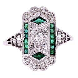 Closeup photo of 18K WG Art Deco Filigree .22tcw Diamond & Emerald Ring, s7