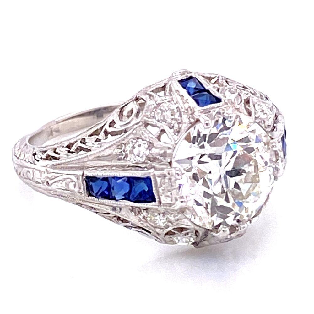 Image 2 for Platinum Art Deco 2.22ct GIA H-VS1 OEC & .22tcw Diamond Ring, s6.5
