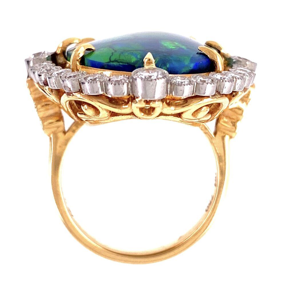 Platinum 18.41ct Black Opal & 1.80tcw Diamond Ring 16.9g, s7