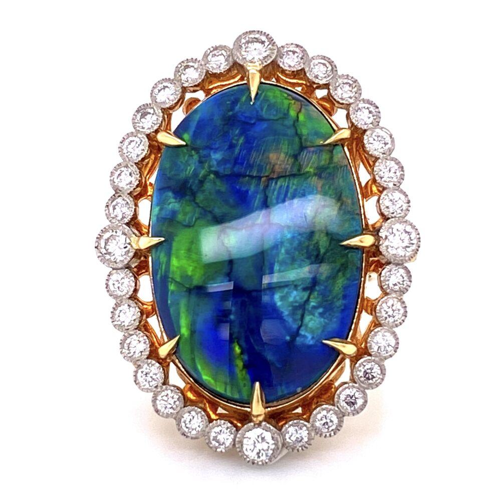Image 2 for Platinum 18.41ct Black Opal & 1.80tcw Diamond Ring 16.9g, s7