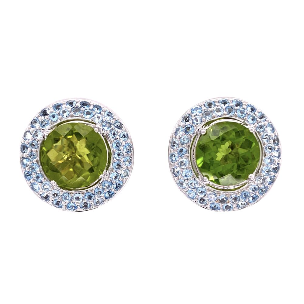 18K Laura M Peridot and Aquamarine Earrings 14.1g