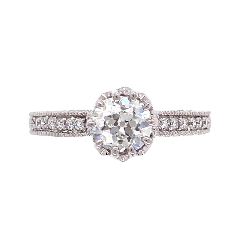 14K WG .93ct Old European Cut Diamond GIA H-SI1 5202840962 in Ring 3.7g, s6.5