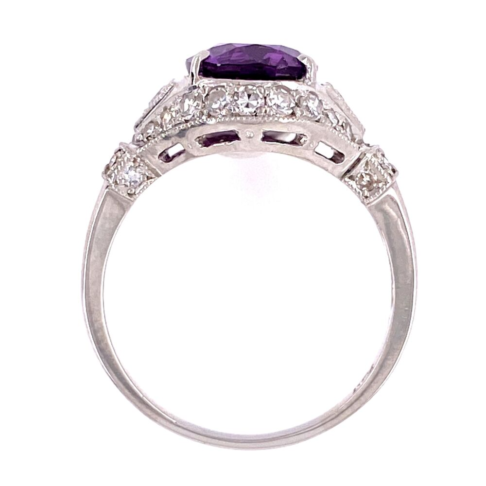 Image 2 for Platinum 3.55ct Oval Purple Sapphire & .45tcw diamond Ring GIA