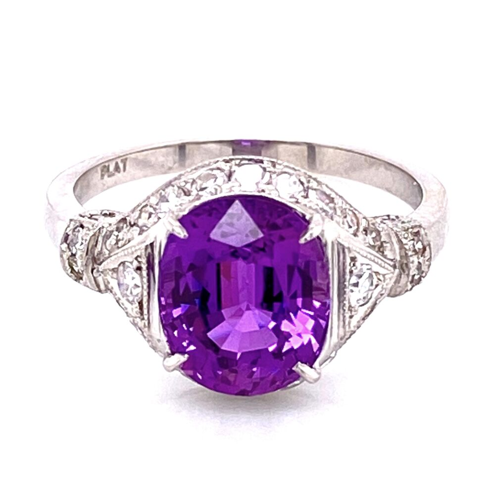 Platinum 3.55ct Oval Purple Sapphire & .45tcw diamond Ring GIA