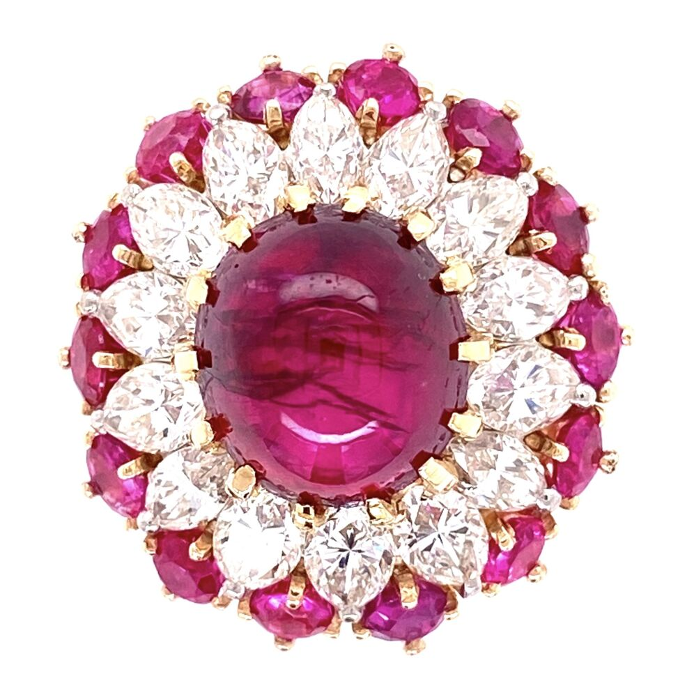 4.91ct Burma Ruby Cabochon Ring Surrounded with Marquis Diamonds and Rubies
