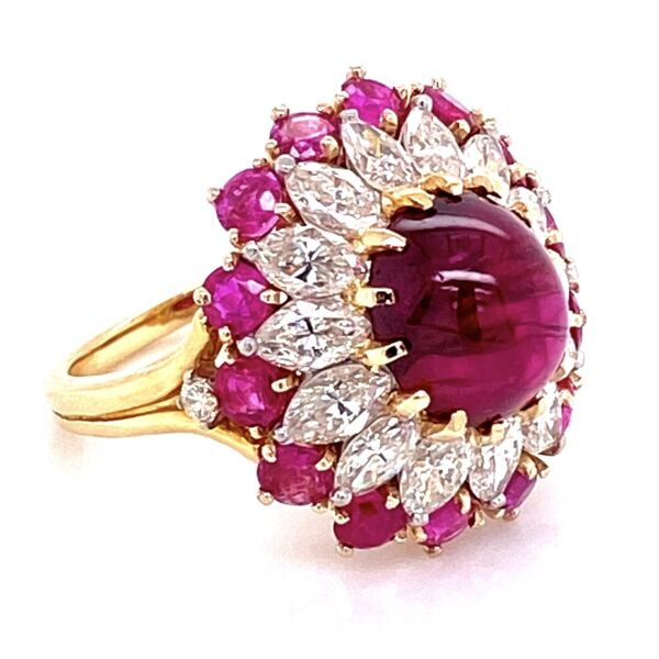Closeup photo of 4.91ct Burma Ruby Cabochon Ring Surrounded with Marquis Diamonds and Rubies