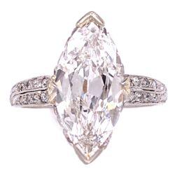 Closeup photo of High Color Platinum Art Deco 2.38ct Antique Marquis Ring GIA D Color