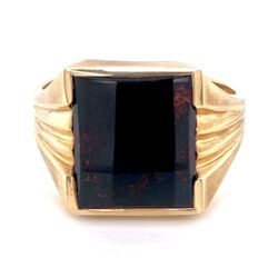 Closeup photo of 10K Yellow Gold Men's Square Bloodstone Victorian Revival Ring 5.5g