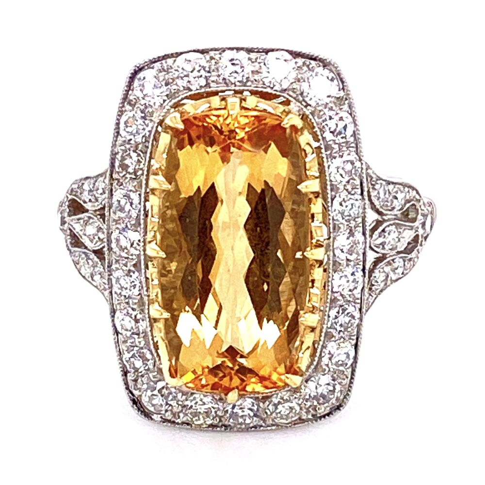 Platinum Art Deco Style Imperial Topaz & Diamond Ring