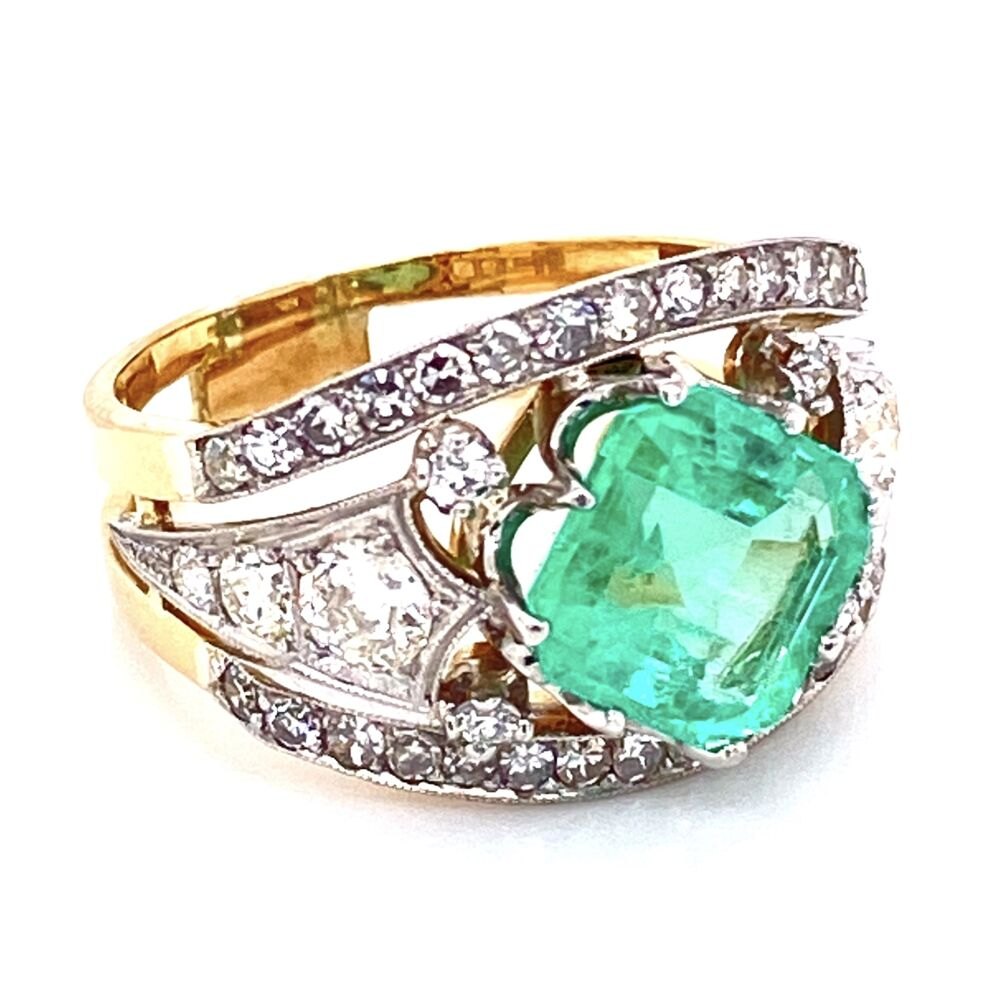 Image 2 for Platinum on Gold Emerald & Diamond Ring