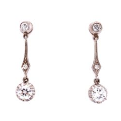 Closeup photo of Platinum Diamond Drop Earrings 1.20tcw