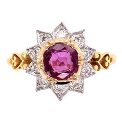 Closeup photo of 18K YG & Platinum 1ct Ruby & .38tcw Diamond Ring, s7