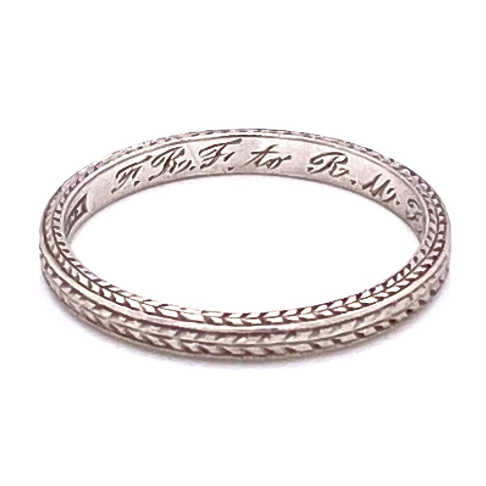 Platinum Art Deco Engraved Band Ring s6, c1925, 2.3g