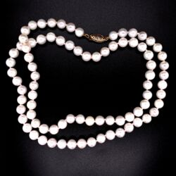 Closeup photo of 14K YG 6.5mm Akoya Pearl Necklace Strand 21""