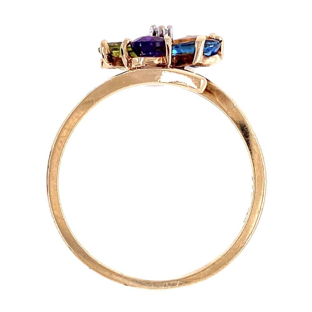 10K YG Mult Color Pear Shape Gemstone & Diamond Ring 3.25g, s8.25